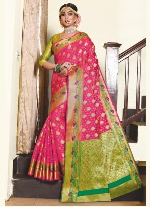Weaving Hot Pink Traditional Saree