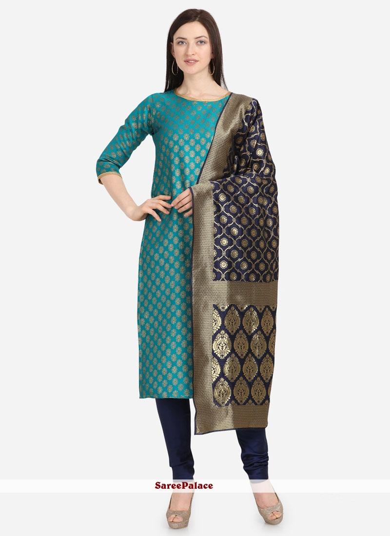 Weaving Jacquard Aqua Blue Salwar Kameez
