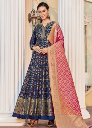 Weaving Jacquard Blue Readymade Anarkali Salwar Suit