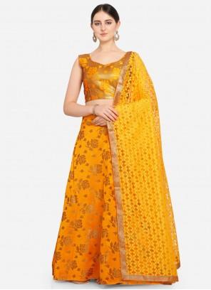 Weaving Jacquard Mustard Lehenga Choli