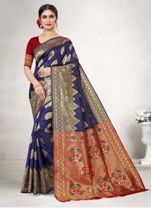 Weaving Jacquard Silk Classic Saree in Blue