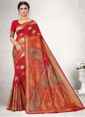Weaving Jacquard Silk Classic Saree in Red