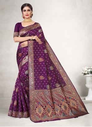 Weaving Jacquard Silk Purple Classic Saree