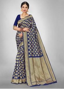 Weaving Jacquard Silk Ceremonial Saree in Blue