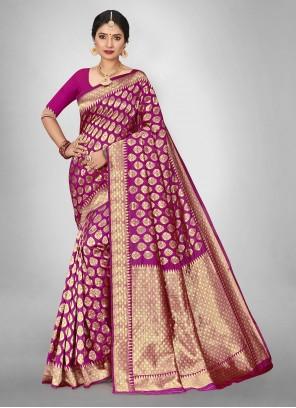 Weaving Jacquard Silk Saree in Hot Pink