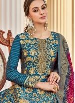 Weaving Jacquard Teal Readymade Anarkali Salwar Suit