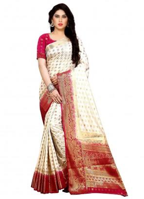 Cream Weaving Kanjivaram Silk Bollywood Saree