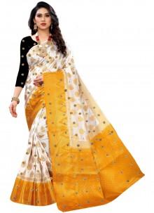 White Weaving Kanjivaram Silk Classic Saree