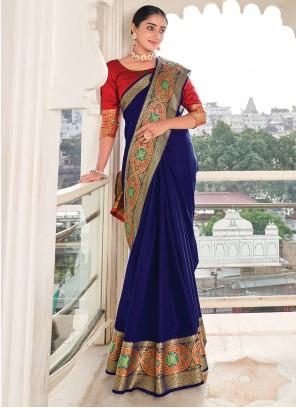 Weaving Khadi Silk Saree in Blue