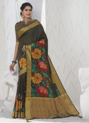 Weaving Khaki Traditional Designer Saree