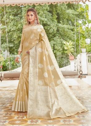 Weaving Linen Classic Saree in Cream