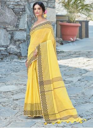 Yellow Weaving Linen Designer Traditional Saree