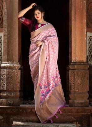 Weaving Linen Traditional Designer Saree in Pink