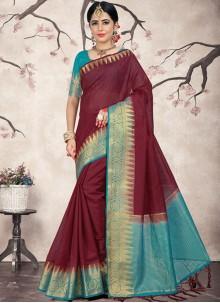 Weaving Linen Wine Designer Saree