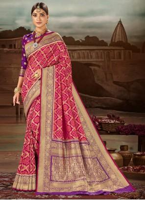Weaving Magenta Banarasi Silk Traditional Designer Saree