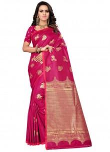 Weaving Magenta Silk Traditional Designer Saree