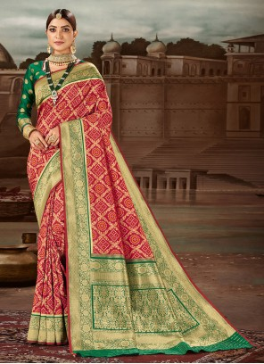 Weaving Maroon Banarasi Silk Traditional Designer Saree