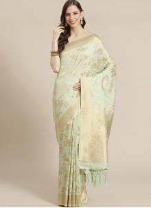 Weaving Mehndi Green Traditional Saree