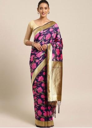 Weaving Multi Colour Art Silk Traditional Designer Saree