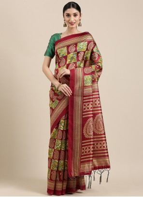 Weaving Multi Colour Art Silk Trendy Saree