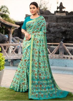 Weaving Multi Colour Cotton Silk Contemporary Saree