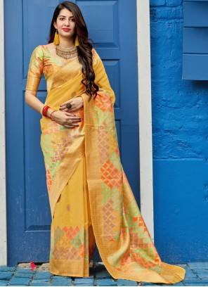 Weaving Mustard Art Silk Saree