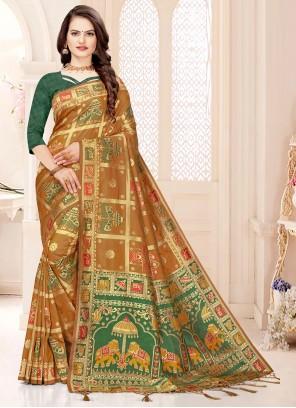 Weaving Mustard Banarasi Silk Designer Traditional Saree