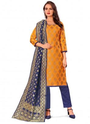 Weaving Mustard Banarasi Silk Pant Style Suit