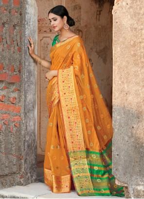 Weaving Mustard Handloom Cotton Designer Traditional Saree