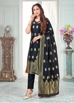 Weaving Navy Blue Art Banarasi Silk Pant Style Suit