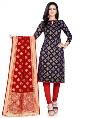 Weaving Navy Blue Banarasi Silk Churidar Designer Suit
