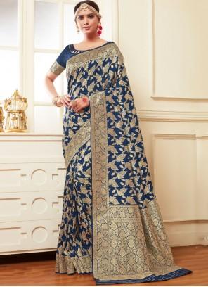 Weaving Navy Blue Banarasi Silk Classic Designer Saree