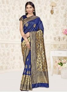 Weaving Navy Blue Designer Traditional Saree