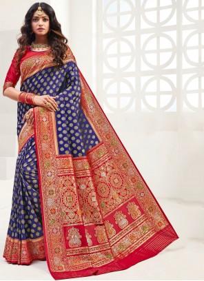 Weaving Navy Blue Silk Classic Saree