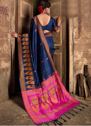 Weaving Navy Blue Silk Trendy Saree