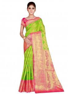 Green Weaving Nylon Traditional Saree