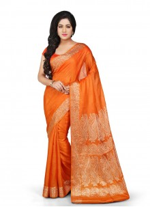 Weaving Orange Art Banarasi Silk Designer Traditional Saree