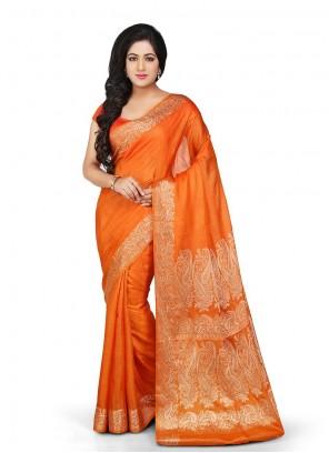Weaving Orange Art Banarasi Silk Designer Traditional Saree