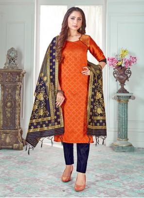 Weaving Orange Art Banarasi Silk Pant Style Suit