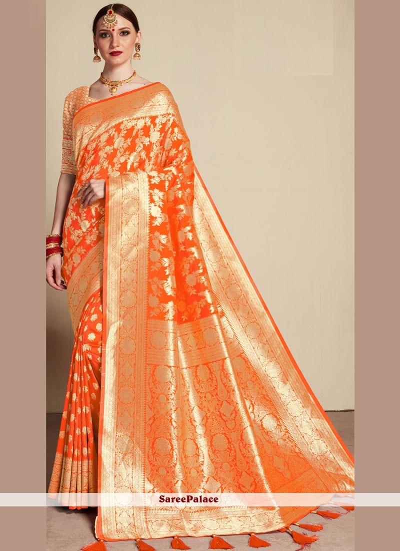 Weaving Orange Classic Saree