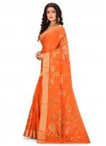 Weaving Orange Contemporary Saree