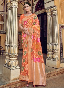 Weaving Orange Designer Traditional Saree