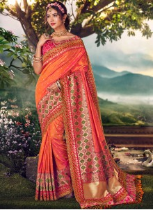 Weaving Orange Designer Traditional Saree