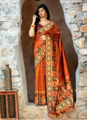 Weaving Orange Patola Silk  Contemporary Saree