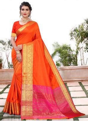 Weaving Orange Silk Classic Saree