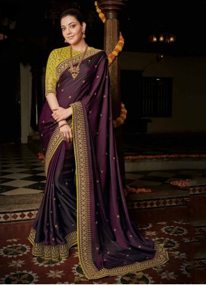Weaving Party Wine Bollywood Saree