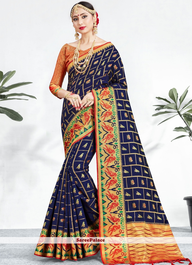 Weaving Party Navy Blue Classic Saree