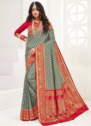 Weaving Party Grey Classic Saree