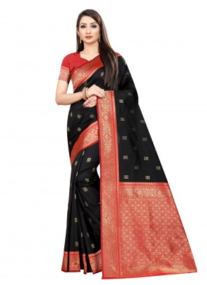 Weaving Party Black Classic Saree