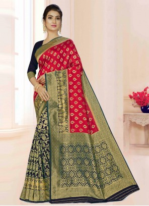 Weaving Party Maroon Classic Saree